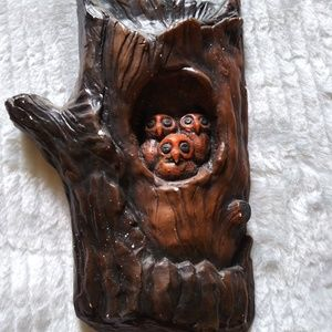 Owl family in tree wall hanging